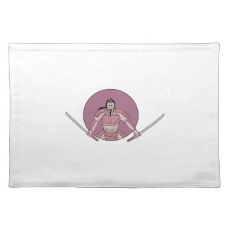 Raging Samurai Warrior Two Swords Oval Drawing Placemat