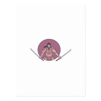 Raging Samurai Warrior Two Swords Oval Drawing Postcard