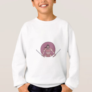 Raging Samurai Warrior Two Swords Oval Drawing Sweatshirt