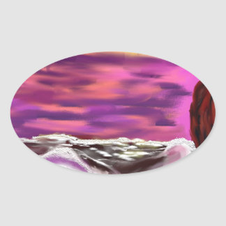 raging sea 3 oval sticker