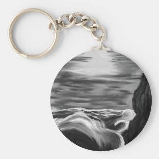 raging sea basic round button keychain