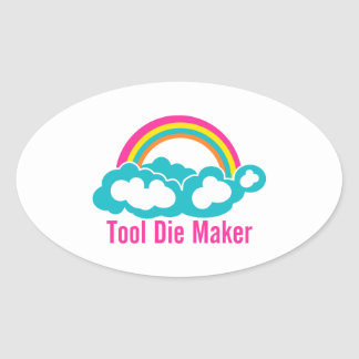 Raibow Cloud Tool Die Maker Oval Sticker