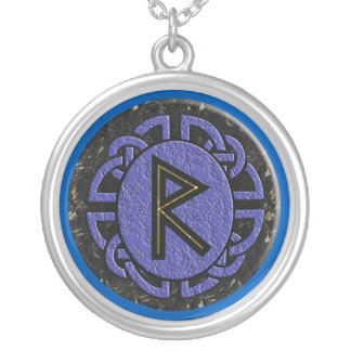 """raidho"" elder futhark silver plated necklace"