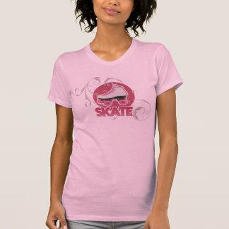Raie de rouleau rose de remous de bulle, patinant tee shirts