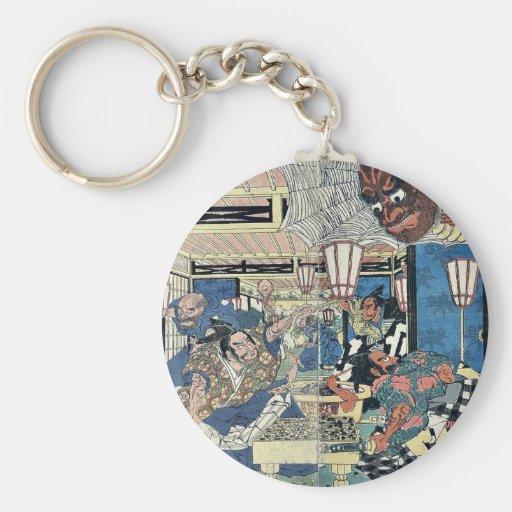 Raikō and the earth spider by Utagawa,Kuninaga Key Chains