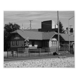 Rail Depot Station Old Fashioned Black and White Poster