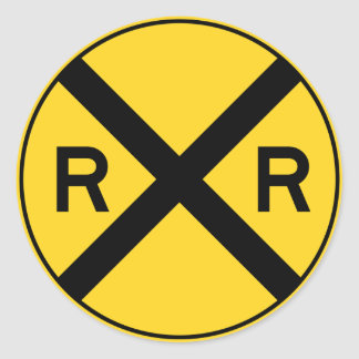 Railroad Ahead RXR Crossbar Warning Road Sign Classic Round Sticker