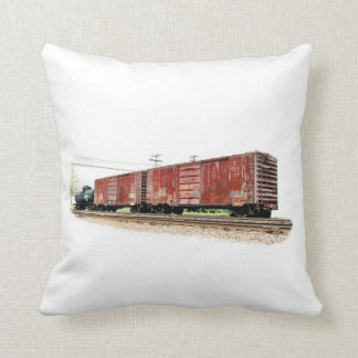 Railroad Boxcars Throw Pillow