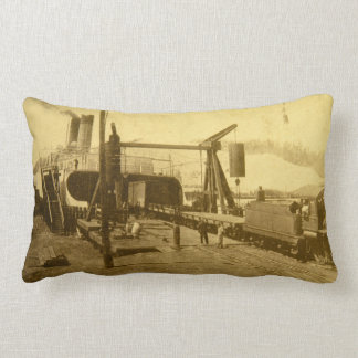 Railroad Car Ferry Docks at Grand Haven, Michigan Lumbar Pillow
