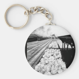 Railroad cars loaded with barbed_War Image Basic Round Button Keychain