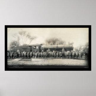 Railroad & Cavalry Photo 1907 Poster