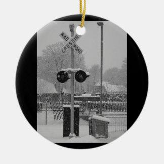 Railroad Crossing (b&w) Ceramic Ornament