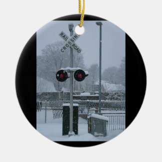 Railroad Crossing (blue) Ceramic Ornament