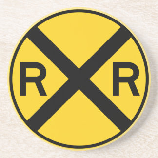 Railroad Crossing Highway Sign Coaster