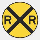 Railroad Crossing Highway Sign Round Sticker