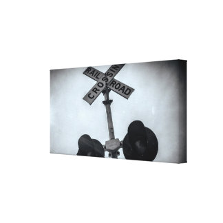 Railroad Crossing Photo, Train Photo, Black White Canvas Print