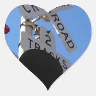 railroad crossing Route 66 Shield Heart Sticker