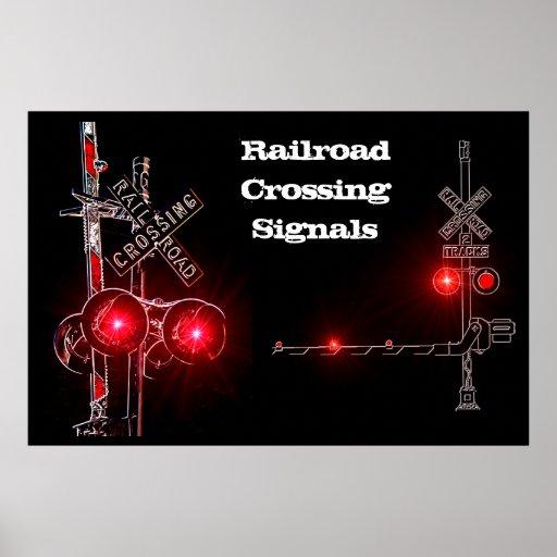 Railroad Crossing Signals Neon Poster