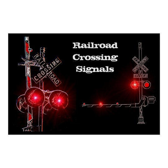 Railroad Crossing Signals Neon Poster