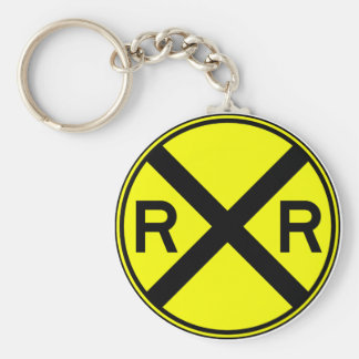 Railroad Crossing Warning Street Sign Train Basic Round Button Keychain