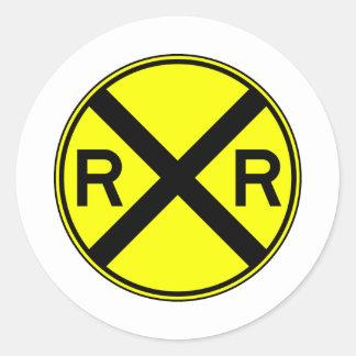 Railroad Crossing Warning Street Sign Train Classic Round Sticker