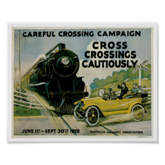 Railroad CrossingsAutomobile Ad Vintage Art Poster