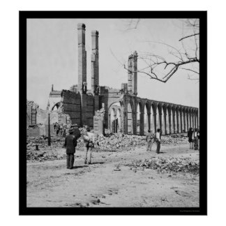 Railroad Depot Ruins in Charleston, SC 1865 Poster