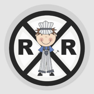 Railroad Engineer-Boy T-shirts and Gifts Classic Round Sticker