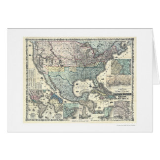 Railroad & Military Map USA 1862 Greeting Card