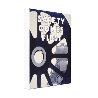 Railroad Safety Comes First Vintage Canvas Print