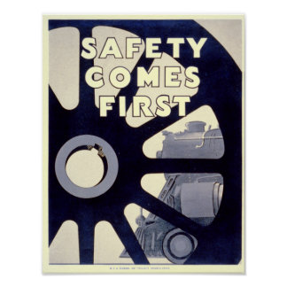 Railroad Safety Comes First Vintage Poster