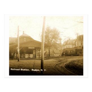 Railroad Station, Roslyn, Long Island, Vintage Postcard