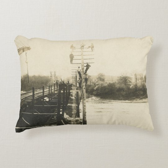 Railroad Telephone Pole Workers Postcard Decorative Pillow