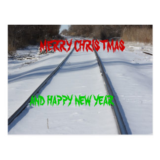 RAILROAD TRACK MERRY CHRISTMAS Postcard