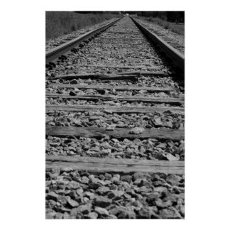 Railroad tracks black and white poster