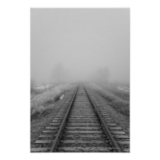 railroad tracks fade into the morning fog poster