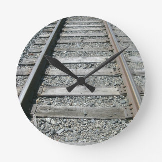 Railroad Tracks Round Clock