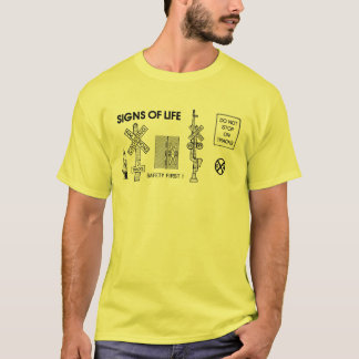 Railroad Train Crossing Lifesaving Signs Mens T-Shirt