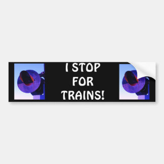 Railroad train crossing signal in purple bumper sticker