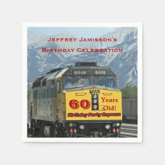 Railroad Train Paper Napkins, 60th Birthday Custom Paper Napkins