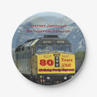 Railroad Train Paper Plates, 80th Birthday, Custom Paper Plate