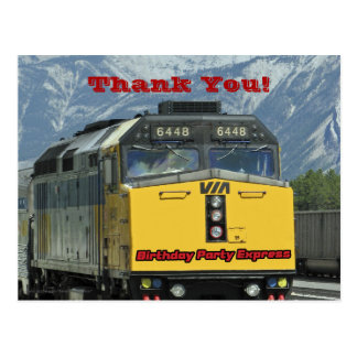 Railroad Train Thank You Birthday Postcard