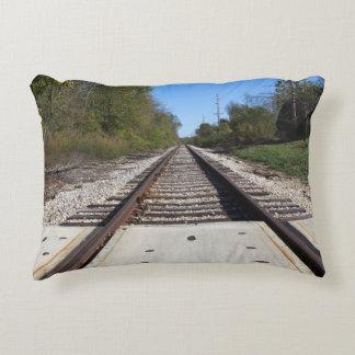 Railroad Train Tracks Photo Decorative Pillow