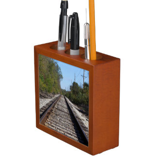 Railroad Train Tracks Photo Desk Organizer