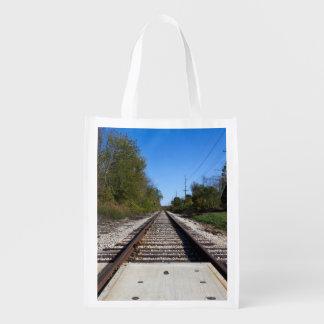 Railroad Train Tracks Photo Reusable Grocery Bag