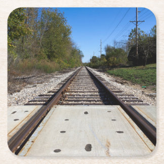 Railroad Train Tracks Photo Square Paper Coaster