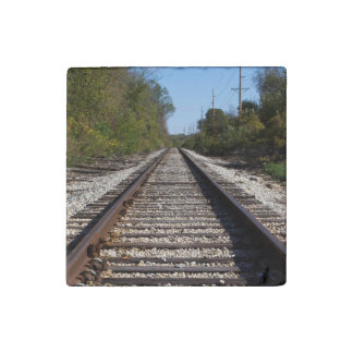 Railroad Train Tracks Photo Stone Magnets