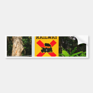 Railway crossing sign bumper sticker