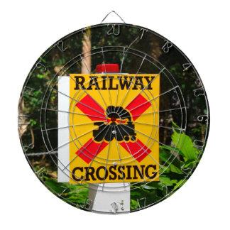 Railway crossing sign dartboard