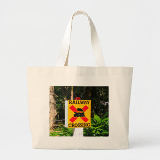 Railway crossing sign large tote bag